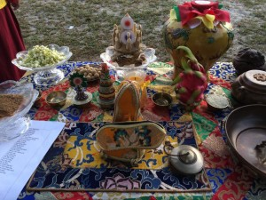 Vase with offering substances during Naga Puja